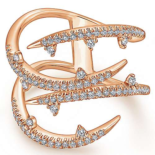 14k Rose Gold Kaslique Fashion Ladies' Ring angle 1