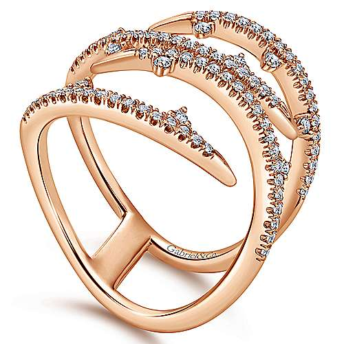 14k Rose Gold Kaslique Fashion Ladies' Ring angle 3