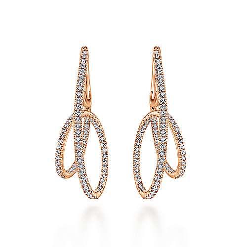 14k Rose Gold Kaslique Intricate Hoop Earrings angle 3