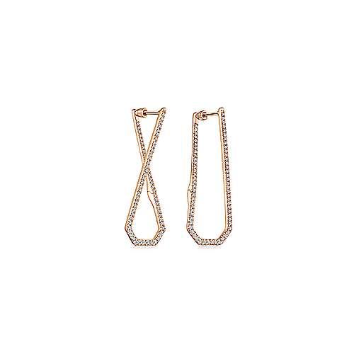 14k Rose Gold Kaslique Intricate Hoop Earrings angle 1