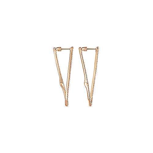 14k Rose Gold Kaslique Intricate Hoop Earrings angle 2