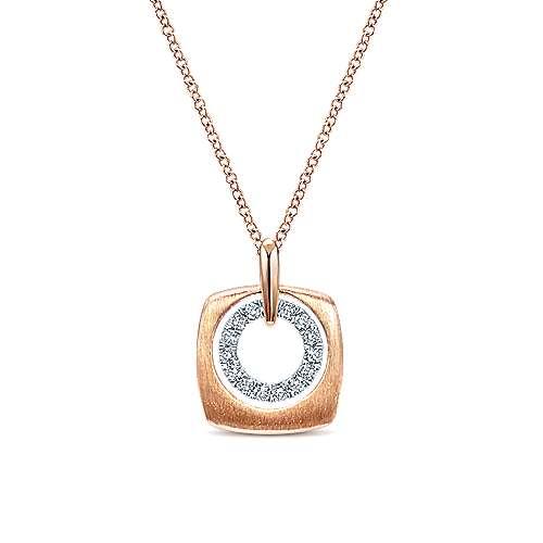14k Rose Gold Layered Cutout Diamond Fashion Necklace