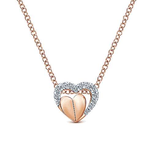 14k Rose Gold Layered Pave Diamond Heart Necklace