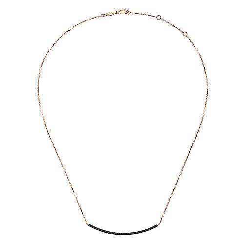 14k Rose Gold Lusso Bar Necklace angle 2
