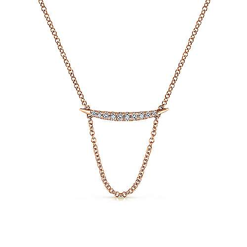 14k Rose Gold Lusso Bar Necklace angle 1