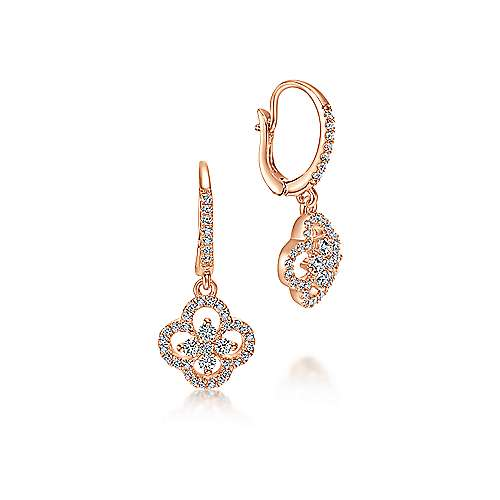 14k Rose Gold Lusso Diamond Drop Earrings angle 1