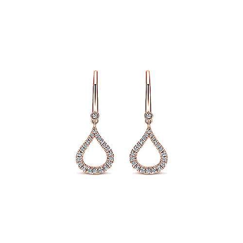 14k Rose Gold Lusso Diamond Drop Earrings angle 1