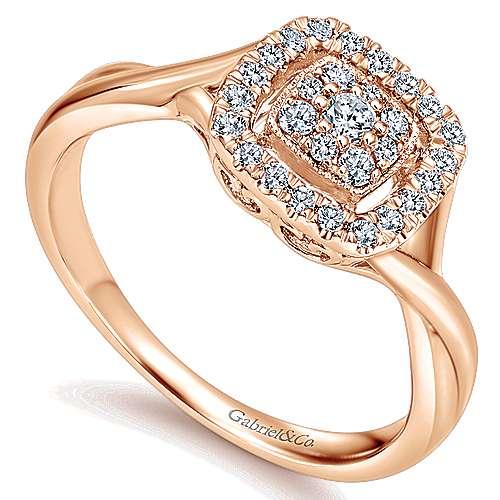 14k Rose Gold Lusso Diamond Fashion Ladies' Ring angle 3