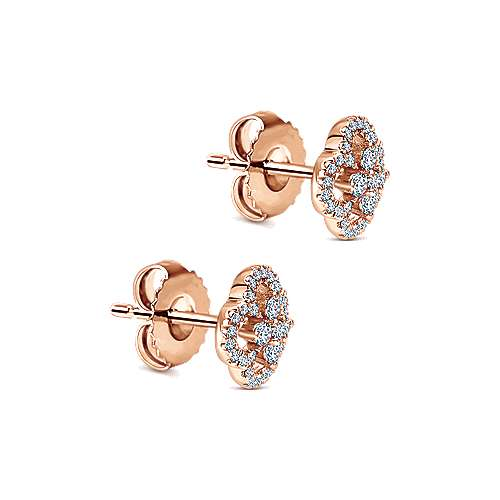 14k Rose Gold Lusso Diamond Stud Earrings angle 2