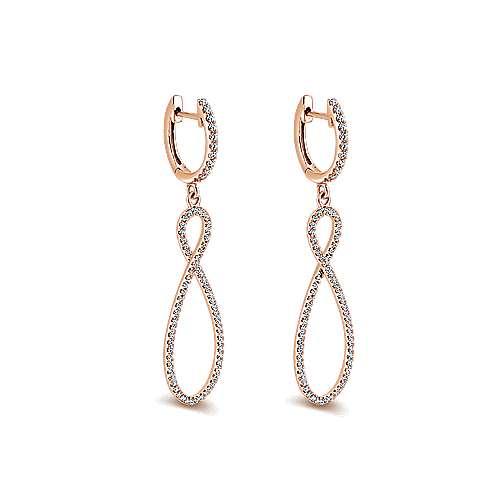 14k Rose Gold Lusso Drop Earrings angle 2
