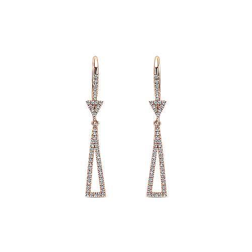 14k Rose Gold Lusso Drop Earrings angle 1