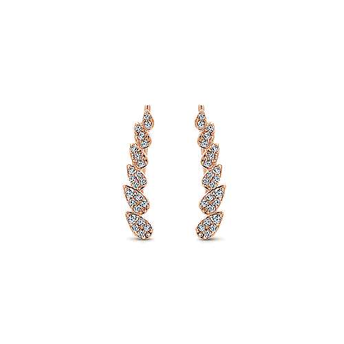 14k Rose Gold Lusso Ear Climber Earrings angle 1