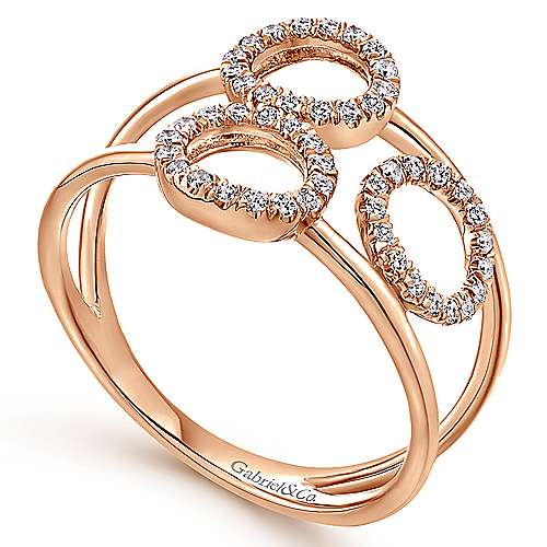 14k Rose Gold Lusso Fashion Ladies' Ring angle 3