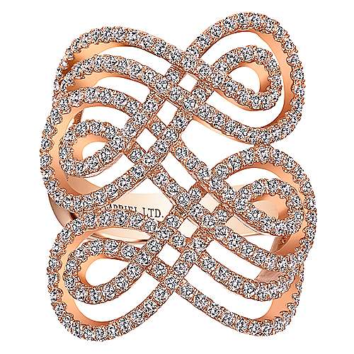 14k Rose Gold Lusso Fashion Ladies' Ring angle 4