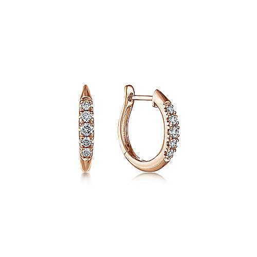 14k Rose Gold Lusso Huggie Earrings angle 1