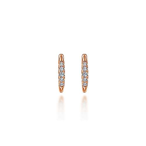 14k Rose Gold Lusso Huggie Earrings angle 3