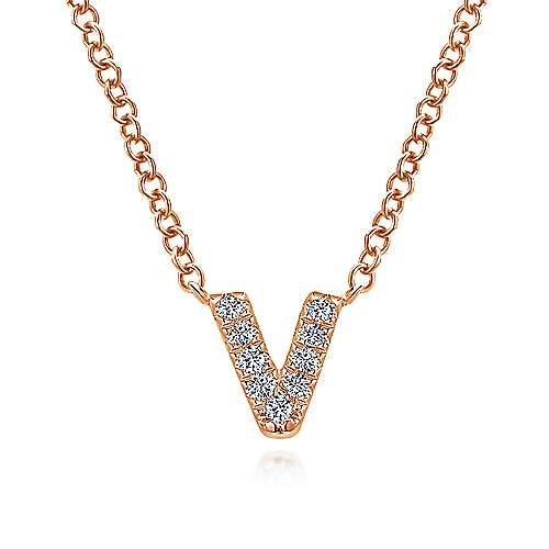 14k rose gold lusso initial necklace nk4577v k45jj gabriel co 14k rose gold lusso initial necklace aloadofball Choice Image