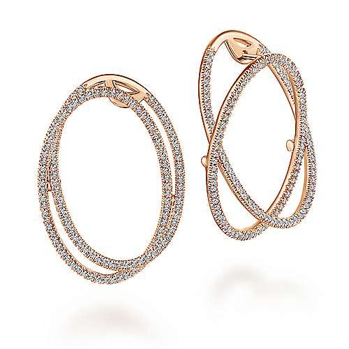 Gabriel - 14k Rose Gold Lusso Intricate Hoop Earrings