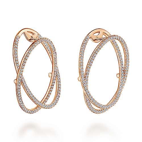 14k Rose Gold Lusso Intricate Hoop Earrings angle 2