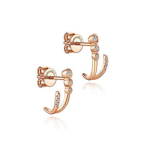 14k Rose Gold Lusso J Curve Earrings angle 2