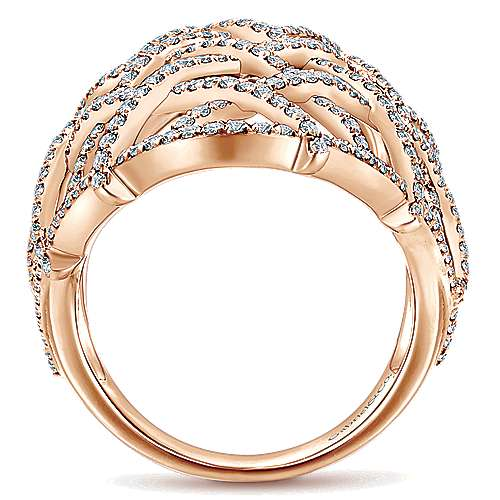 14k Rose Gold Lusso Statement Ladies' Ring angle 2