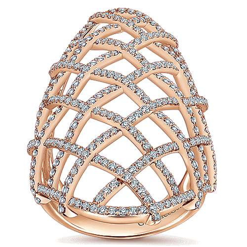 14k Rose Gold Lusso Statement Ladies' Ring angle 4