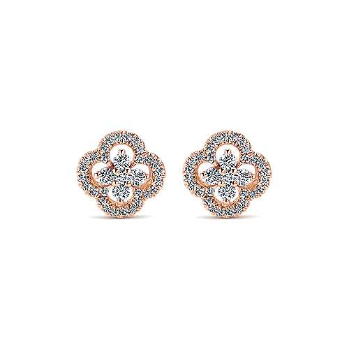 14k Rose Gold Lusso Stud Earrings angle 1