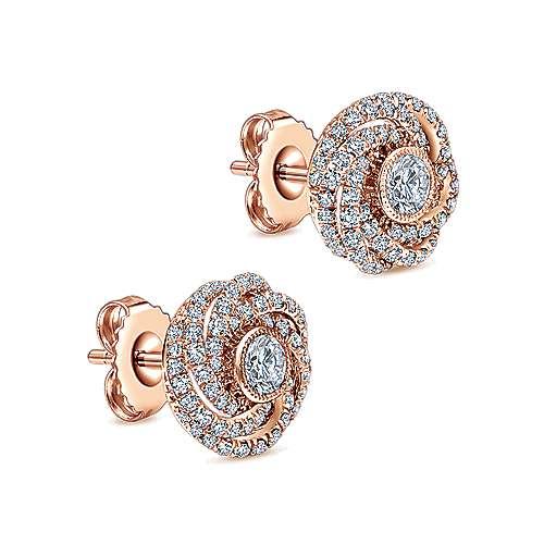 14k Rose Gold Lusso Stud Earrings angle 2