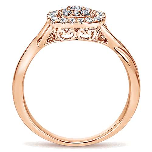 14k Rose Gold Lusso Twisted Ladies' Ring angle 2