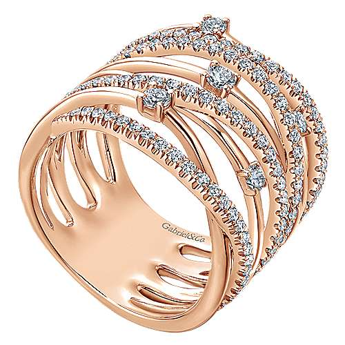 14k Rose Gold Lusso Twisted Ladies' Ring angle 3