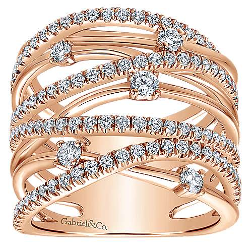 14k Rose Gold Lusso Twisted Ladies' Ring angle 4