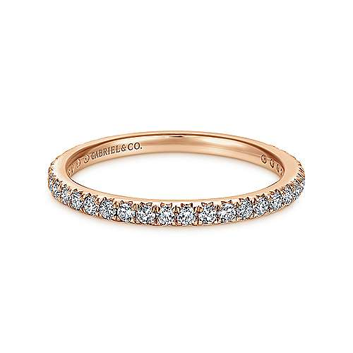 14k Rose Gold Micro Pavé Eternity Band