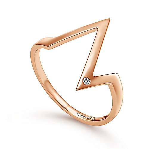 14k Rose Gold Midi Ladies' Ring angle 3