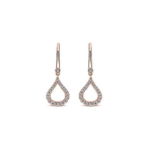 Gabriel - 14k Rose Gold Open Teardrop Diamond Drop Earrings