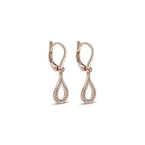 14k Rose Gold Open Teardrop Diamond Drop Earrings