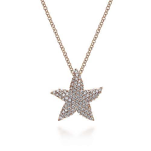 14k Rose Gold Pave Diamond Star Fashion Necklace