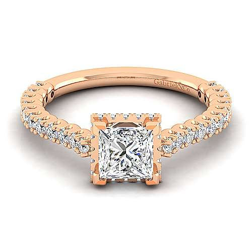 Gabriel - 14k Rose Gold Princess Cut Straight Engagement Ring