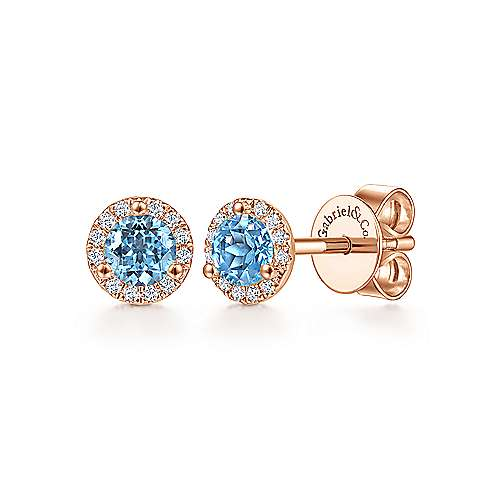 14k Rose Gold Round Cut Diamond Halo & Swiss Blue Topaz Stud Earrings