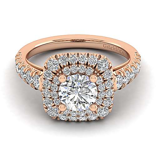 Gabriel - 14k Rose Gold Round Double Halo Engagement Ring