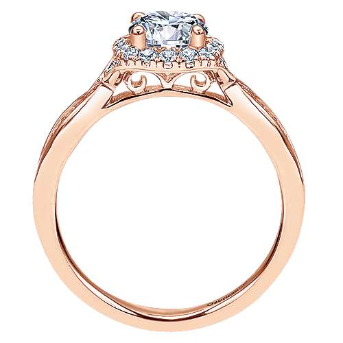 14k Rose Gold Round Halo Engagement Ring angle 2