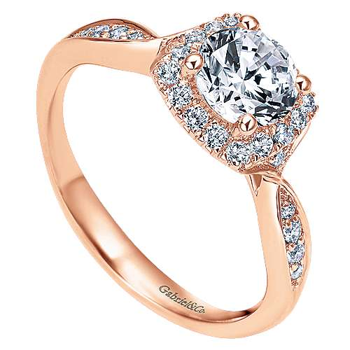 14k Rose Gold Round Halo Engagement Ring angle 3