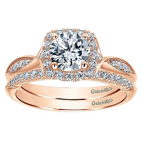 14k Rose Gold Round Halo Engagement Ring angle 4