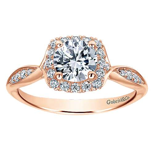 14k Rose Gold Round Halo Engagement Ring angle 5
