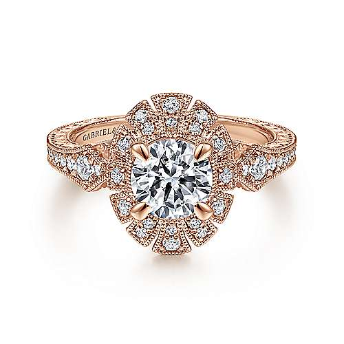 14k Rose Gold Round Halo Engagement Ring