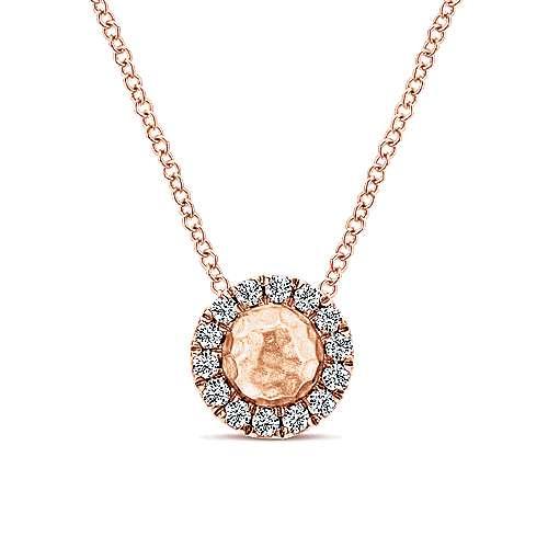 14k Rose Gold Round Hammered Diamond Fashion Necklace