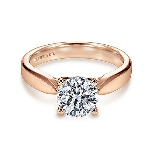 14k Rose Gold Round Solitaire Engagement Ring angle 1