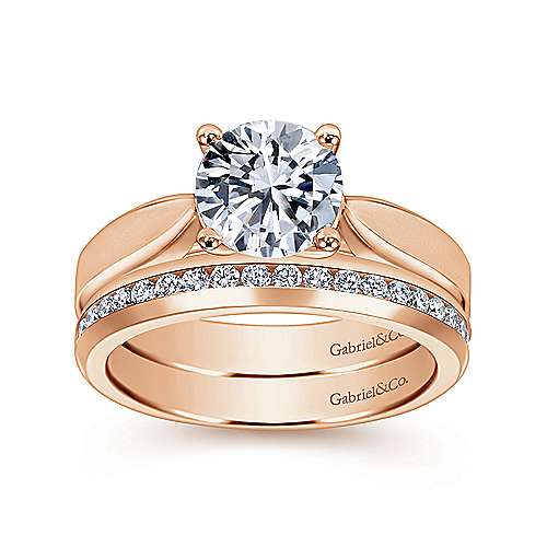 14k Rose Gold Round Solitaire Engagement Ring angle 4