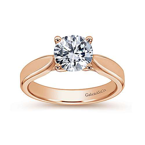 14k Rose Gold Round Solitaire Engagement Ring angle 5