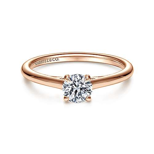 Gabriel - 14k Rose Gold Round Solitaire Engagement Ring