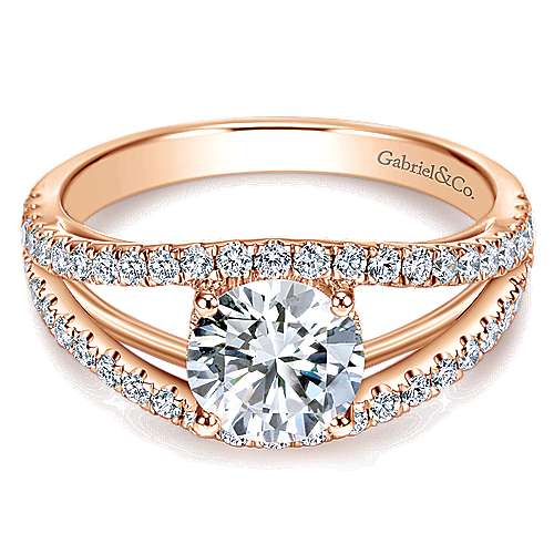 14k Rose Gold Round Split Shank Engagement Ring angle 1
